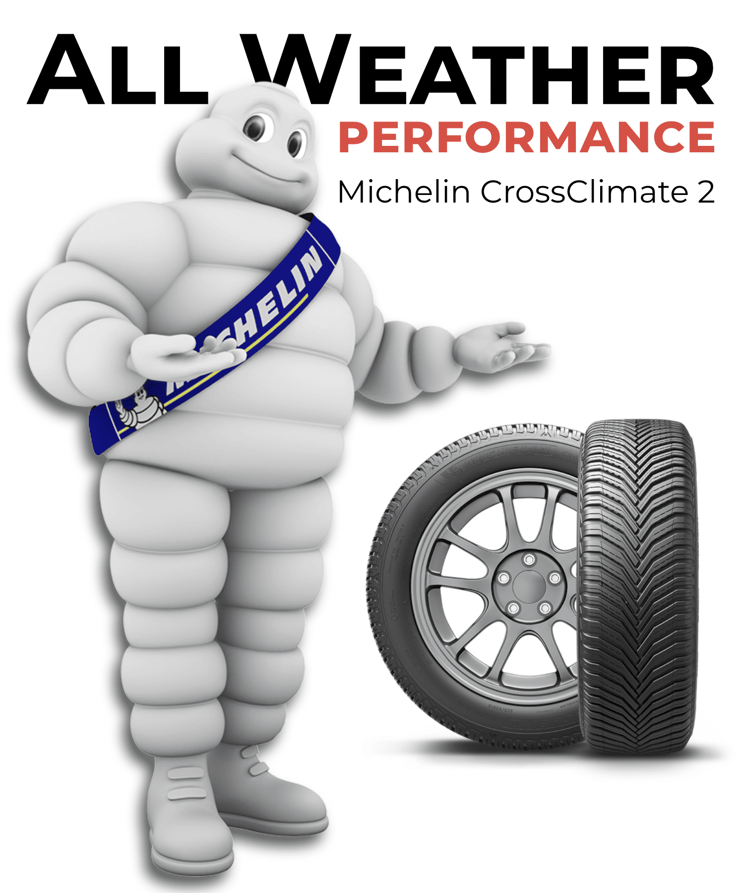 All Weather Michelin Man holding tire